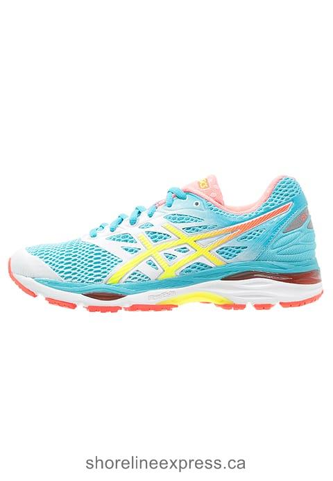Buy ASICS GEL-CUMULUS 18 - Neutral running shoes Women White/Safety Yellow/Blue Atoll