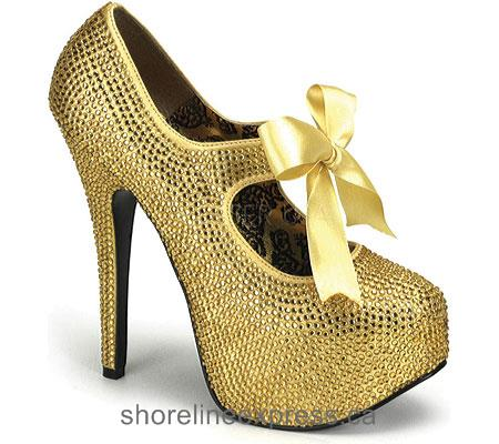 Discount Bordello Teeze 04R Gold Rhinestones Women
