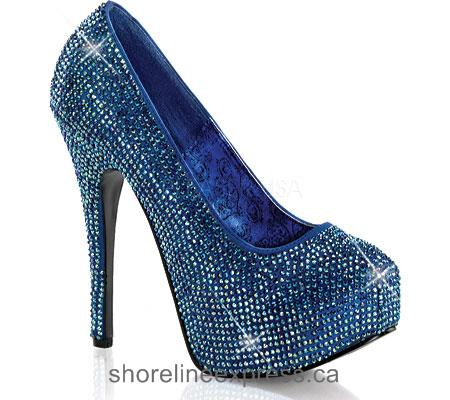Buy comfortable Bordello Teeze 06R Blue Satin/Iridescent Rhinestones Women