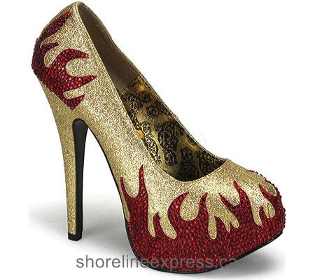 Buy comfortable Bordello Teeze 27 Women Gold Mini Glitter/Red Rhinestone Flames