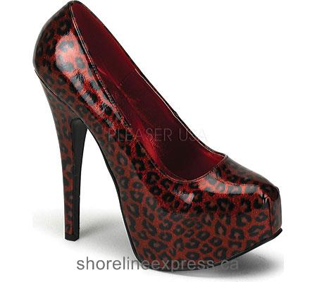 Buy Women Bordello Teeze 37 Red Pearlized Cheetah Patent