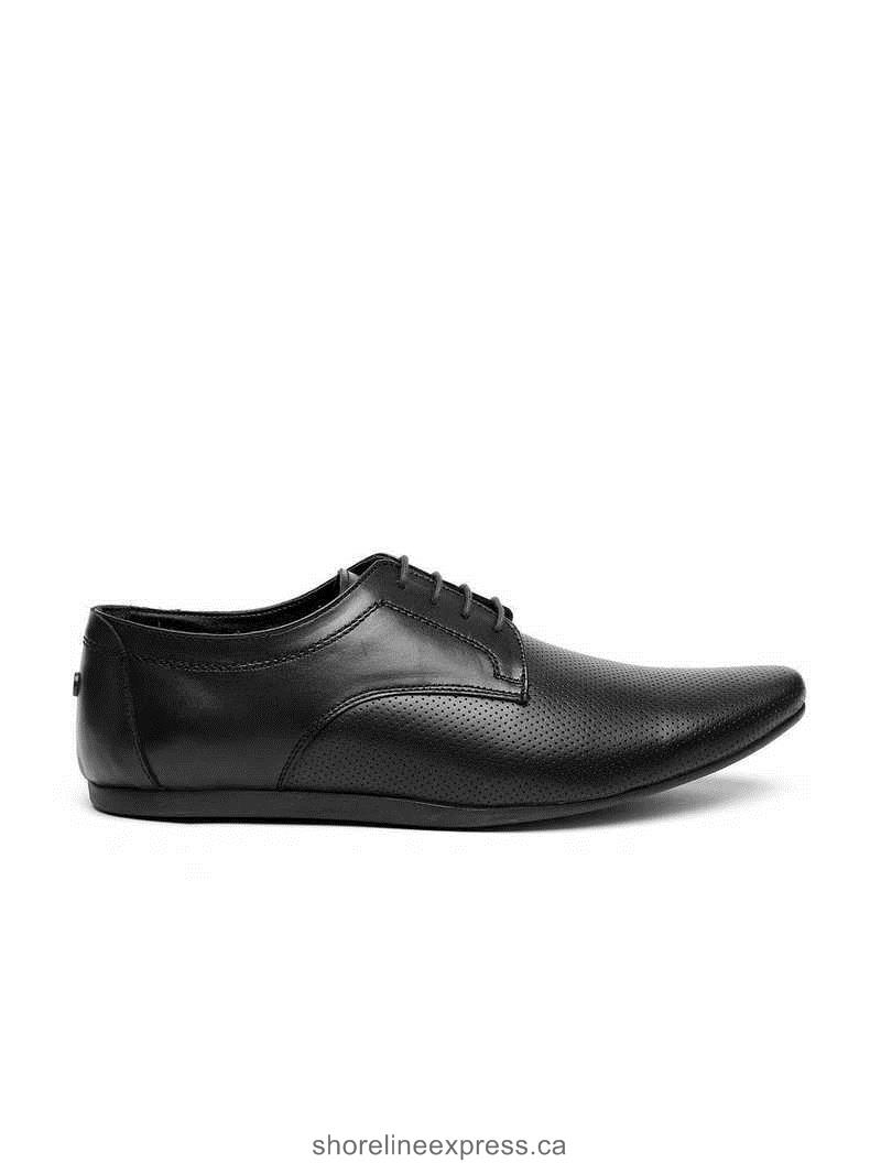 Buy gorgeous Carlton London Men Black Perforated Leather Derby Shoes