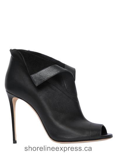 Quality branded Women Casadei 100mm Open Toe Leather Ankle Boots Black