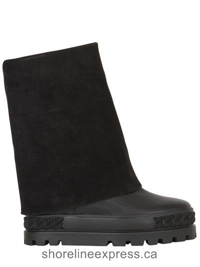 New collection Casadei 120mm Suede & Leather Wedged Boots Women Black