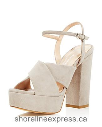 Quality branded Charles David Rima Platform High Heel Sandals Women Gray