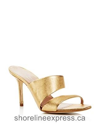 Quality branded Charles David Status Metallic Leather High Heel Slide Sandals Gold Women