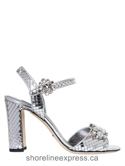 Special Offers Dolce & Gabbana 85mm Swarovski Metallic Leather Sandals Silver Women