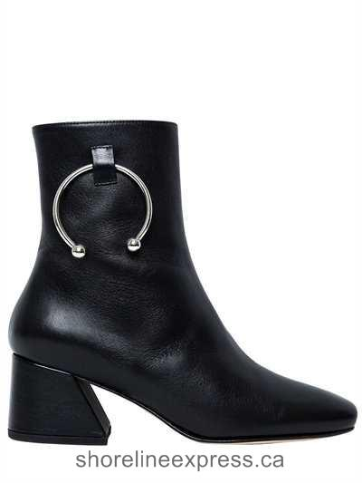 Perfect Dorateymur - 50mm Pierce Leather Ankle Boots Black Women Shoes