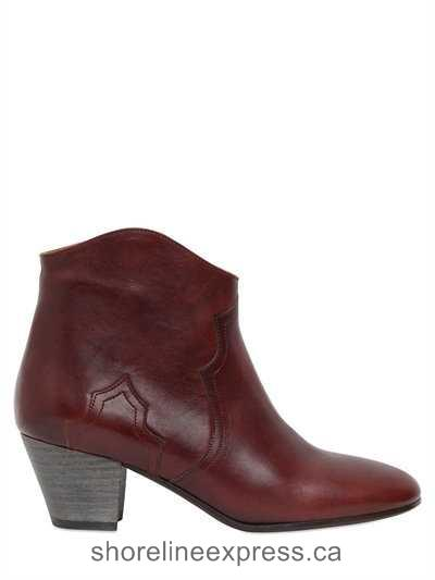 Quality branded Isabel Marant - Etoile 50mm Dicker Leather Ankle Boots Bordeaux Women Shoes