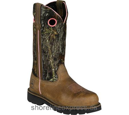 Discount John Deere Boots 11 Dark Brown Crazy Horse Leather/Moss Oak Women