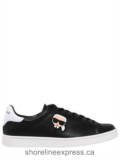 Buy popular Men Shoes Karl Lagerfeld - Leather Sneakers w/ Karlito Patch Black
