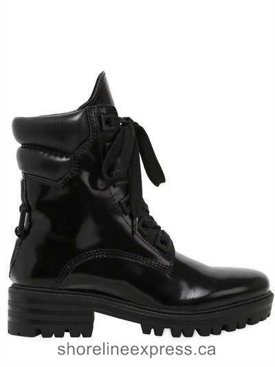 New arrival Women Shoes Kendall+Kylie - 30mm East Polished Leather Combat Boots Black