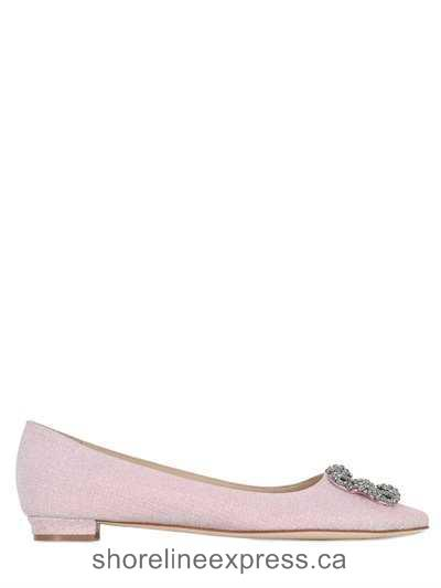 Quality branded Women Shoes Manolo Blahnik - 10mm Hangisi Notturno Lurex Flats Pink