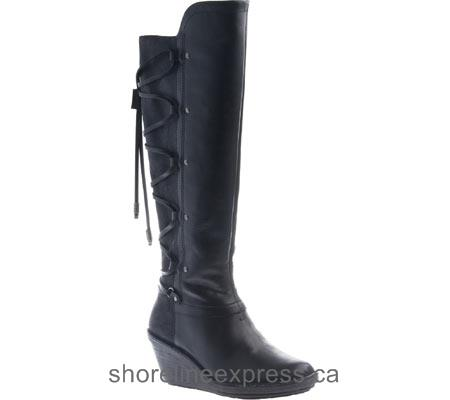 High quality Women OTBT Abroad Knee High Wedge Boot Black Leather