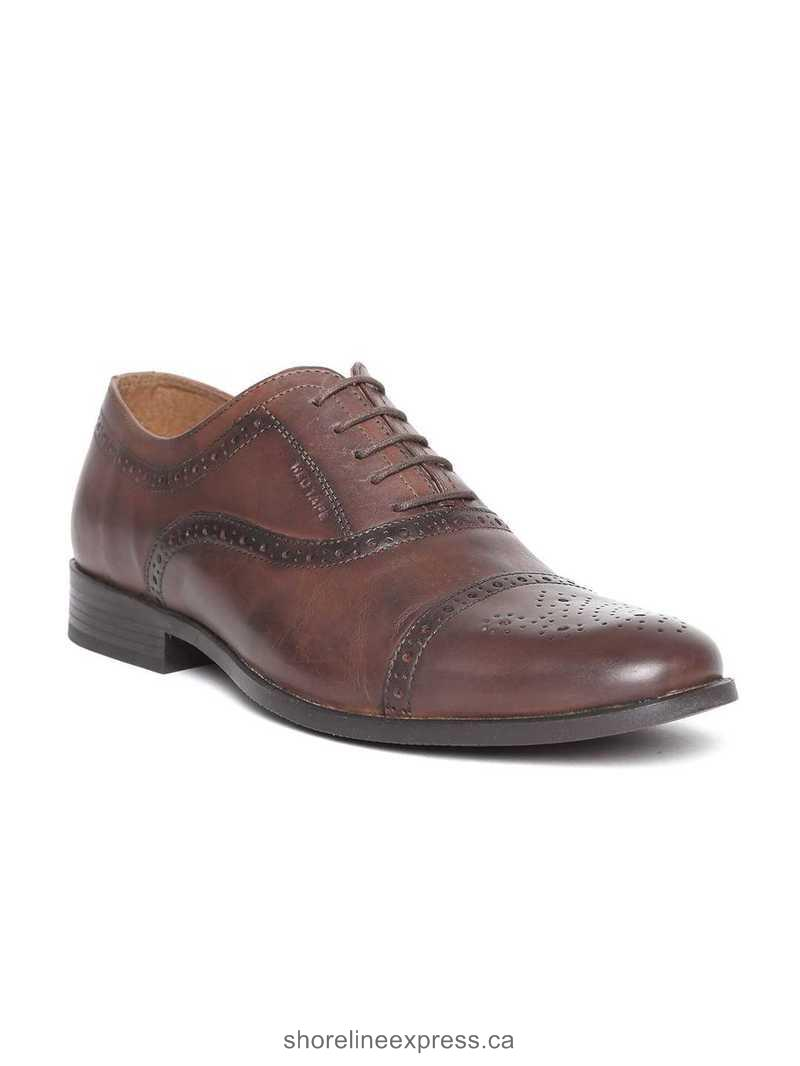 Personality Red Tape Men Brown Leather Brogues