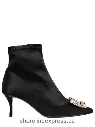 Buy personality Women Shoes Roger Vivier - 65mm Flower Silk Satin Ankle Boots Black
