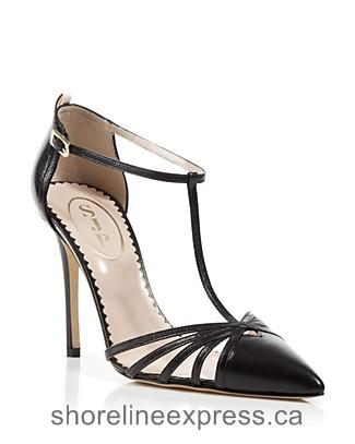 Authentic SJP by Sarah Jessica Parker Carrie Cage T-Strap Pumps Women Nude