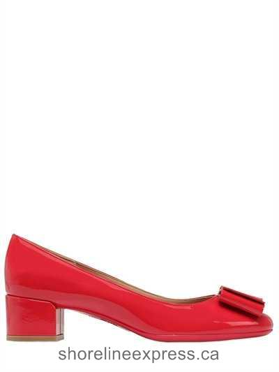 Special Offers Women Shoes Salvatore Ferragamo - 40mm Elinda 2 Patent Leather Pumps Red
