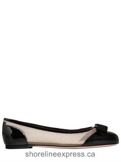 New collection Women Salvatore Ferragamo Varina Net Mesh & Patent Leather Flats Black