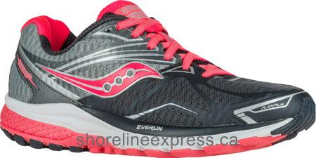 Classic Women Saucony Ride 9 Running Shoe Grey/Charcoal/Coral
