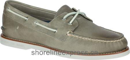 New Men Sperry Top-Sider Gold Cup Authentic Original Boat Shoe Grey Full Grain Leather