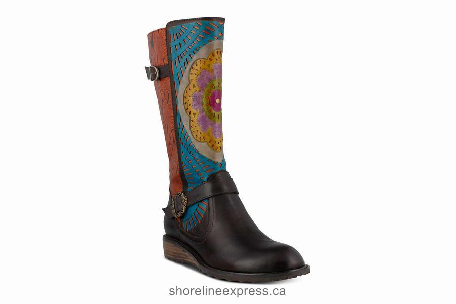 Classic Spring Step Halvod Dark Brown Multi Women's Boots