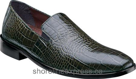 Features Men Stacy Adams Galindo Plain Toe Slip On 24996 Olive Leather