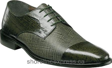 Good quality Stacy Adams Gatto Cap Toe Lace Oxford 25051 Men Olive Eelskin/Scratch Print Leather