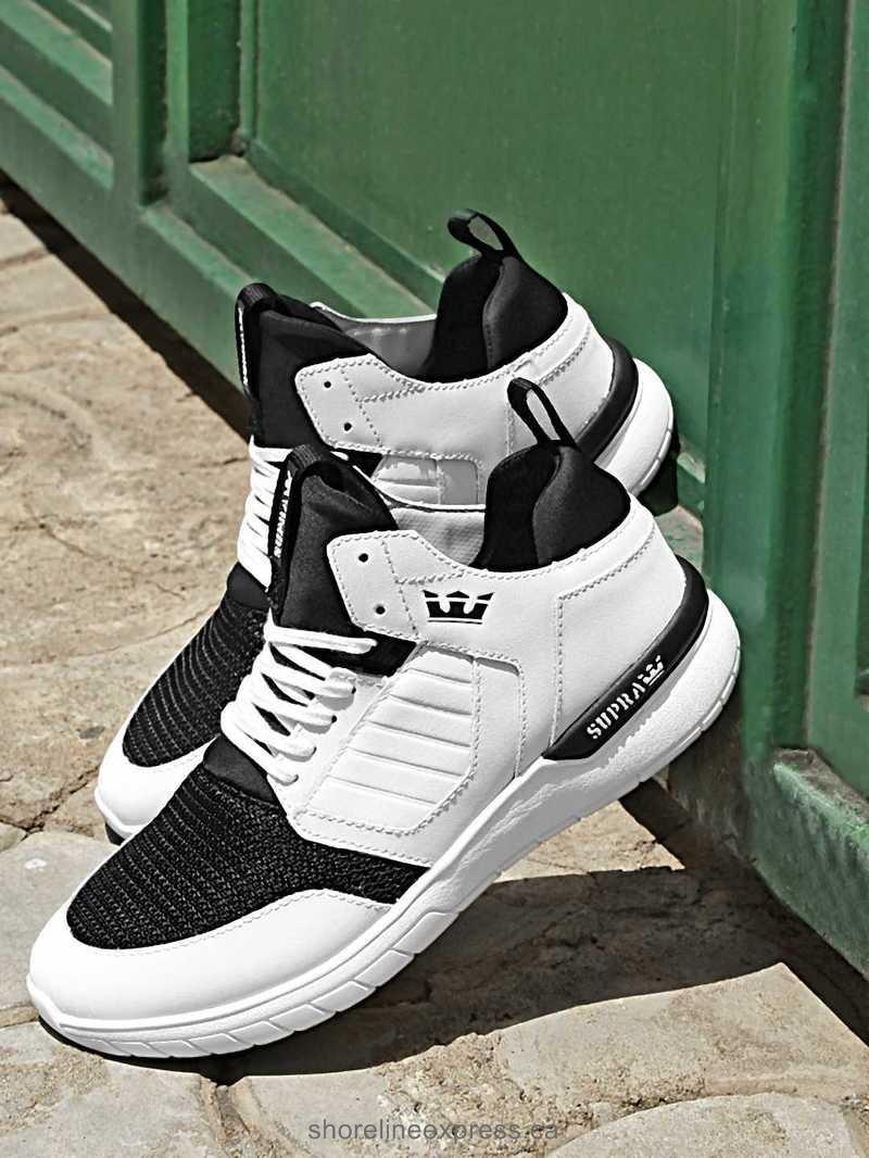 Fashion Supra Men White & Black Colourblocked Sneakers