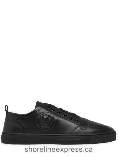 Buy fashion Versace - Medusa Smooth Leather Sneakers Black Men Shoes